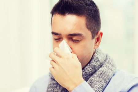 image of a man with flu