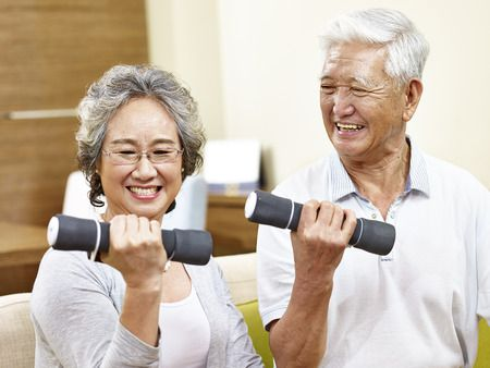 Senior citizens practicing exercise safety