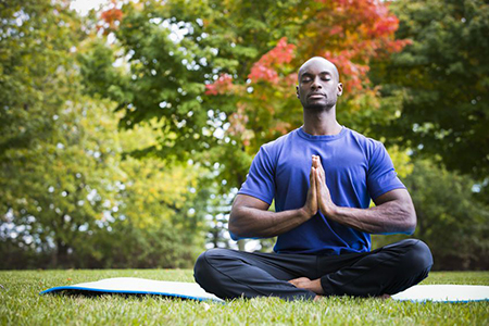 Image of man meditating for stress